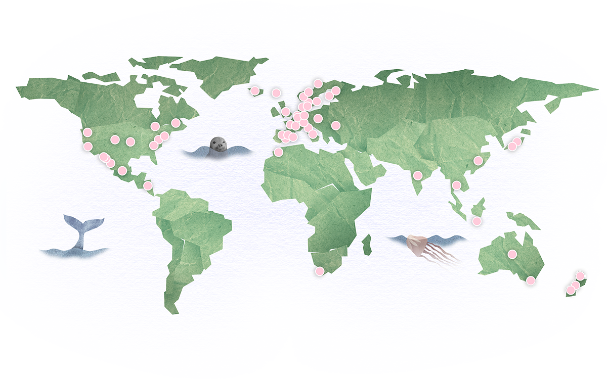 World map showing geographic locations of the ideas presented on the website